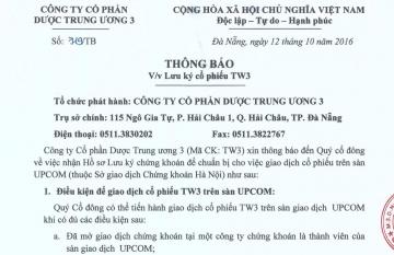 Thông báo v/v Lưu ký cổ phiếu TW3